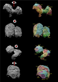 OSIRIS images showing Comet 67P/Churyumov–Gerasimenko in different orientations. Rotation axes have been added; in the middle two panels the rotation axis is almost toward the viewer, that is, providing a north polar view. Right: the same images with regional boundaries and nomenclature added. Credits: ESA/Rosetta/MPS for OSIRIS Team MPS/UPD/LAM/IAA/SSO/INTA/UPM/DASP/IDA