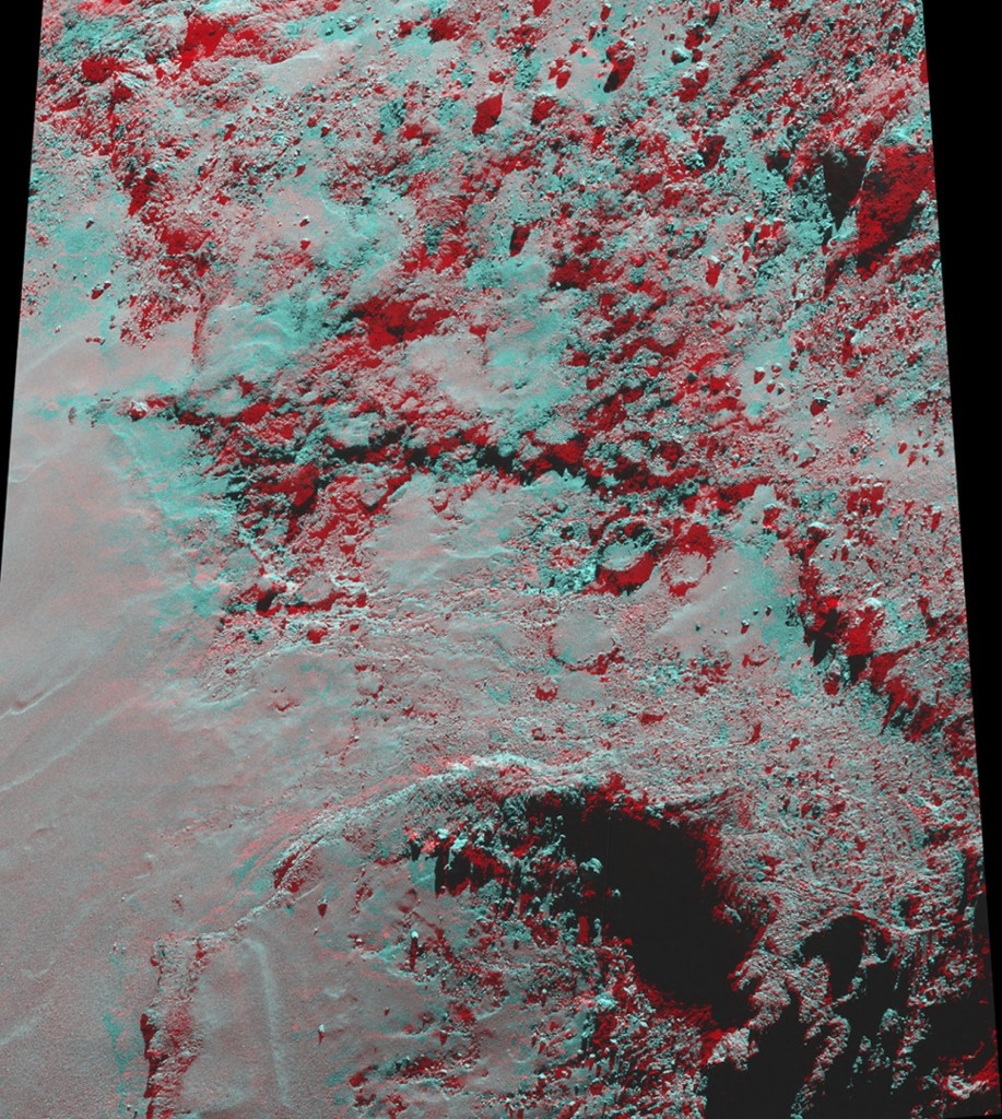 Anaglyph image of part of the Imhotep region on the large lobe of Comet 67P/Churyumov–Gerasimenko. To best enjoy this view, use red–green/blue 3D glasses. The image was created from two OSIRIS narrow-angle camera images acquired on 22 November 2014 from a distance of 31 km from the comet centre. The image scale is 56 cm/pixel. Credits: ESA/Rosetta/MPS for OSIRIS Team MPS/UPD/LAM/IAA/SSO/INTA/UPM/DASP/IDA; acknowledgment: D. Romeuf (University Claude Bernard Lyon 1, France)