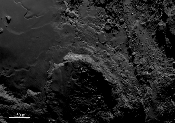 A range of features can be seen in this image, including curvilinear features in the smooth material (left) and terraces close to a basin-like feature (centre). To the top, a number of quasi-circular features can be seen. The image was acquired with Rosetta's OSIRIS narrow-angle camera on 5 September 2014 from a distance of 43.5 km from the comet centre. The image scale is 80 cm/pixel. Credits: ESA/Rosetta/MPS for OSIRIS Team MPS/UPD/LAM/IAA/SSO/INTA/UPM/DASP/IDA