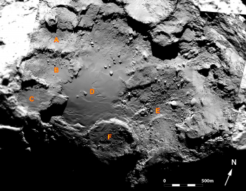 Accumulation basins identified within the boundary of Imhotep. Credits: ESA/Rosetta/MPS for OSIRIS Team MPS/UPD/LAM/IAA/SSO/INTA/UPM/DASP/IDA