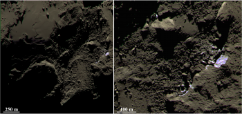 Colour-composite image focusing on bright and bluer patches in the Imhotep region on Comet 67P/Churyumov–Gerasimenko. The image at right shows a zoom into the region indicated in the left-hand image. The composite comprises images taken with the blue (480 nm), green (536 nm) and orange (649 nm) filters of Rosetta's OSIRIS narrow-angle camera on 5 September 2014, from a distance of 43 km from the comet centre. The image scale is 81 cm/pixel. Credits: ESA/Rosetta/MPS for OSIRIS Team MPS/UPD/LAM/IAA/SSO/INTA/UPM/DASP/IDA