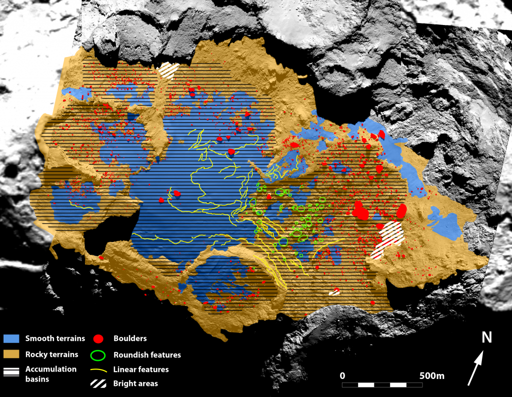 Geological mapping of the Imhotep region on Comet 67P/Churyumov–Gerasimenko.Credits: ESA/Rosetta/MPS for OSIRIS Team MPS/UPD/LAM/IAA/SSO/INTA/UPM/DASP/IDA
