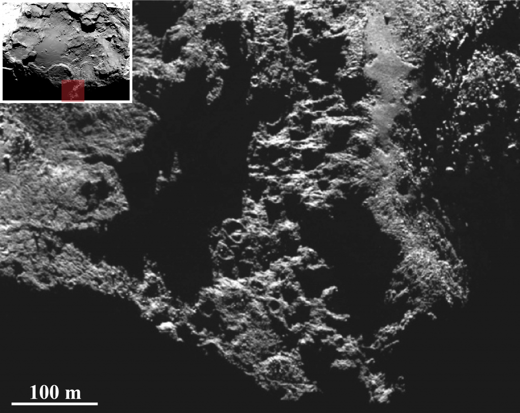 Recently illuminated regions in the south of the Imhotep region on the large lobe of Comet 67P/Churyumov-Gerasimenko reveal round features similar to those seen in the centre of the same region. The image was taken with Rosetta's OSIRIS narrow-angle camera on 31 October 2014 from a distance of 33 km from the comet centre. The image scale is 63 cm/pixel. Credits:ESA/Rosetta/MPS for OSIRIS Team MPS/UPD/LAM/IAA/SSO/INTA/UPM/DASP/IDA