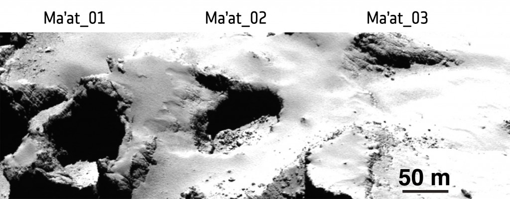 Pits Ma'at 1, 2 and 3 on Comet 67P/Churyumov–Gerasimenko show differences in appearance that may reflect their history of activity. While pits 1 and 2 are active, no activity has been observed from pit 3. The young, active pits are particularly steep-sided, whereas pits without any observed activity are shallower and seem to be filled with dust. Middle-aged pits tend to exhibit boulders on their floors from mass-wasting of the sides. The image was taken with the OSIRIS narrow-angle camera from a distance of 28 km from the comet surface.  Credits: ESA/Rosetta/MPS for OSIRIS Team MPS/UPD/LAM/IAA/SSO/INTA/UPM/DASP/IDA