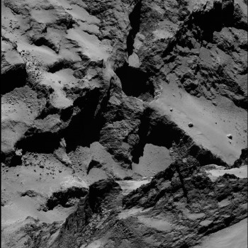 High-resolution view of active regions in Seth as seen with Rosetta's OSIRIS narrow-angle camera on 20 September 2014 from a distance of about 26 km from the surface. The image scale is about 45 cm/pixel. The Seth_01 pit is seen close to centre and measures approximately 220 m across and 185 m deep. The image also includes Seth_02 and Seth_03 to the 'top' of Seth_01, and Seth_04 and Seth_05 'below' (see context image for guidance). The image has not been enhanced to reveal the jets of activity, but instead focuses on the rich diversity of the comet's geology both inside the active regions and in the surrounds.  Credits: ESA/Rosetta/MPS for OSIRIS Team MPS/UPD/LAM/IAA/SSO/INTA/UPM/DASP/IDA