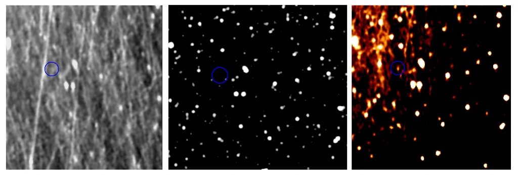 After careful image processing dwarf planet Pluto shows itself in these images obtained by Rosetta's scientific imaging system OSIRIS on 12 July 2015. Left: The unprocessed image is obscured by dust grains in comet 67P's coma. Middle: Pluto's background of stars as seen from Rosetta. Right: The processed image shows Pluto as a bright spot within the blue circle. Credits: ESA/Rosetta/MPS for OSIRIS Team MPS/UPD/LAM/IAA/SSO/INTA/UPM/DASP/IDA