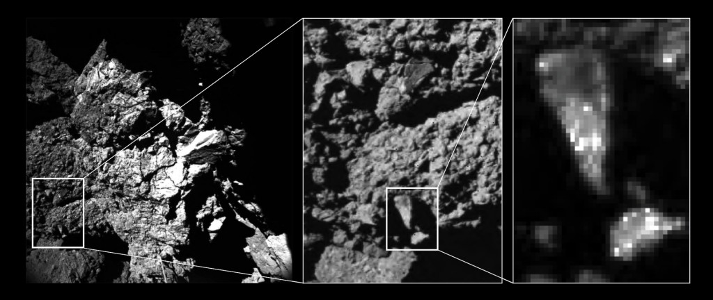 Zooming in to a portion of the fractured cliff face imaged by CIVA camera 4 reveals brightness variations in the comet's surface properties down to centimetre and millimetre scales. The dominant constituents are very dark conglomerates, likely made of organics. The brighter spots could represent mineral grains, perhaps even pointing to ice-rich materials. The left hand image shows one of the CONSERT antennas in the foreground, which seems to be in contact with the nucleus. The dimensions of the antenna, 5 mm in diameter and 693 mm long, help to provide a scale to the image. Credits: ESA/Rosetta/Philae/CIVA