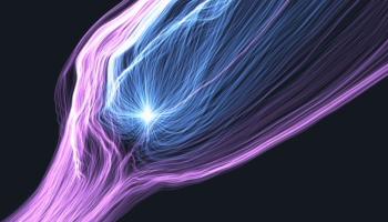 Screenshot from a simulation of plasma interactions between Comet 67P/C-G and the solar wind around perihelion.  Credit: Modelling and simulation: Technische Universität Braunschweig and Deutsches Zentrum für Luft- und Raumfahrt; Visualisation: Zuse-Institut Berlin