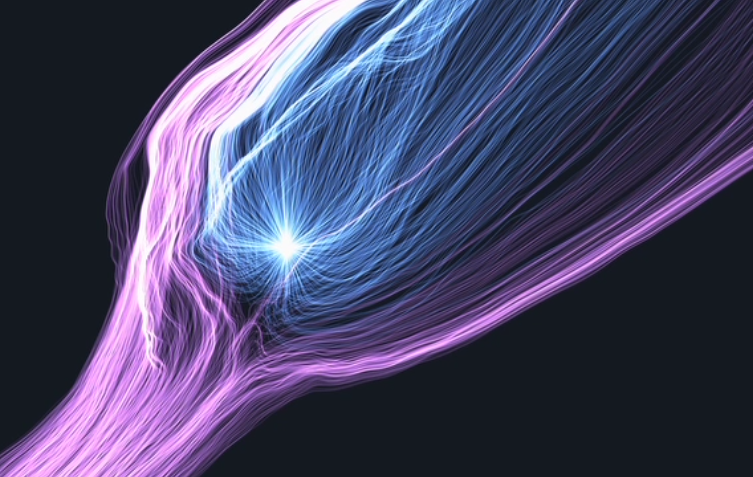Screenshot from a simulation of plasma interactions between Comet 67P/C-G and the solar wind around perihelion.  Credit: Modelling and simulation: Technische Universität Braunschweig and Deutsches Zentrum für Luft- und Raumfahrt; Visualisation: Zuse-Institut Berlin