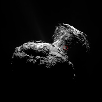 This image, taken on 12 April 2015 by the OSIRIS narrow-angle camera, identifies the source region of the outburst from Comet 67P/Churyumov–Gerasimenko observed by Rosetta's instruments on 29 July. Credits: ESA/Rosetta/MPS for OSIRIS Team MPS/UPD/LAM/IAA/SSO/INTA/UPM/DASP/IDA