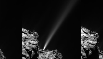 A short-lived outburst from Comet 67P/Churyumov–Gerasimenko was captured by Rosetta's OSIRIS narrow-angle camera on 29 July 2015. The image at left was taken at 13:06 GMT and does not show any visible signs of the jet. It is very strong in the middle image captured at 13:24 GMT. Residual traces of activity are only very faintly visible in the final image taken at 13:42 GMT. Credits: ESA/Rosetta/MPS for OSIRIS Team MPS/UPD/LAM/IAA/SSO/INTA/UPM/DASP/IDA