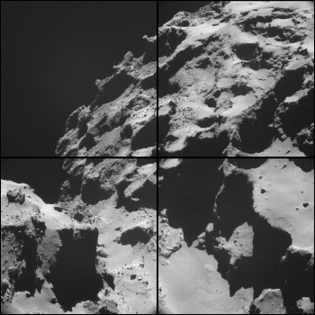 Four image NAVCAM montage of Comet 67P/C-G comprising images taken on 20 October 2014, during the timeframe of the ROSINA measurements when the spacecraft was less than 10 km from the centre of the comet – these images were taken at about 7.4 km from the surface. Credits: ESA/Rosetta/NAVCAM