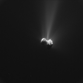 Single frame enhanced NAVCAM image of Comet 67P/C-G taken on 21 September 2015. Credits: ESA/Rosetta/NAVCAM – CC BY-SA IGO 3.0