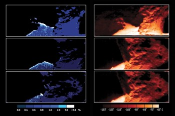 Maps of water ice abundance (left) and surface temperature (right) focusing on the Hapi 'neck' region of Comet 67P/Churyumov–Gerasimenko. These maps are based on images and spectra collected with Rosetta's Visible, InfraRed and Thermal Imaging Spectrometer, VIRTIS on 12 (top), 13 (middle) and 14 September (bottom) 2014.Credit: ESA/Rosetta/VIRTIS/INAF-IAPS/OBS DE PARIS-LESIA/DLR; M.C. De Sanctis et al (2015). Click for full image details.