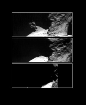 Comet 67P/Churyumov–Gerasimenko 12–14 September 2014 taken with Rosetta's Visible, InfraRed and Thermal Imaging Spectrometer, VIRTIS on 12 (top), 13 (middle) and 14 September (bottom), in the optical band at 0.7 micron. The images focus on Hapi, a region on the comet's 'neck', one of the most active spots on the nucleus at the time. The first and second image were taken about 12 hours apart, and therefore are separated by about one comet rotation; the second and the third were taken about 37 hours apart, so the comet had undergone three rotations in the meantime. Owing to the complex topography of the comet, the illumination conditions are different in each of the three images, as shown by the shadows covering different patches on the surface. Using infrared spectra taken at the same time with VIRTIS, scientists identified water ice repeatedly appearing and disappearing, visible only on patches of the surface that were in shadow. This suggests that the water ice undergoes a daily cycle, forming during the local night from the sublimation of subsurface material and disappearing on the next comet day, just after local dawn. Credit: ESA/Rosetta/VIRTIS/INAF-IAPS/OBS DE PARIS-LESIA/DLR; M.C. De Sanctis et al (2015)
