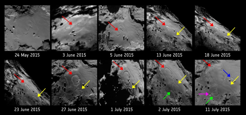 Changes reported by Rosetta scientists in the Imhotep region between May and July last year. Credits: ESA/Rosetta/MPS for OSIRIS Team MPS/UPD/LAM/IAA/SSO/INTA/UPM/DASP/IDA