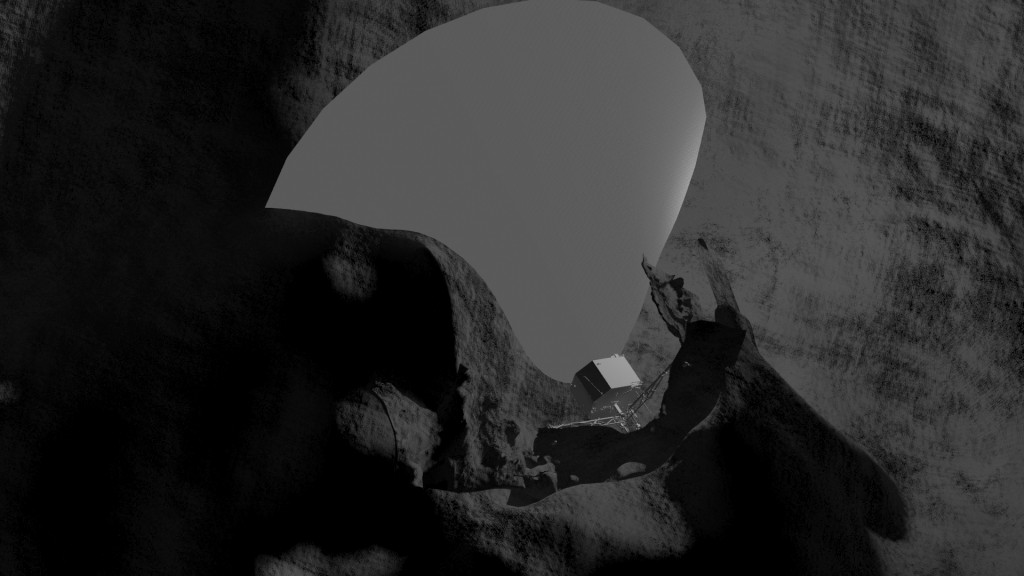 Illustration of Philae on the comet surface, showing the orientation of the communication cone with respect to the local terrain. Credit: Philae Consortium/DLR/LCC
