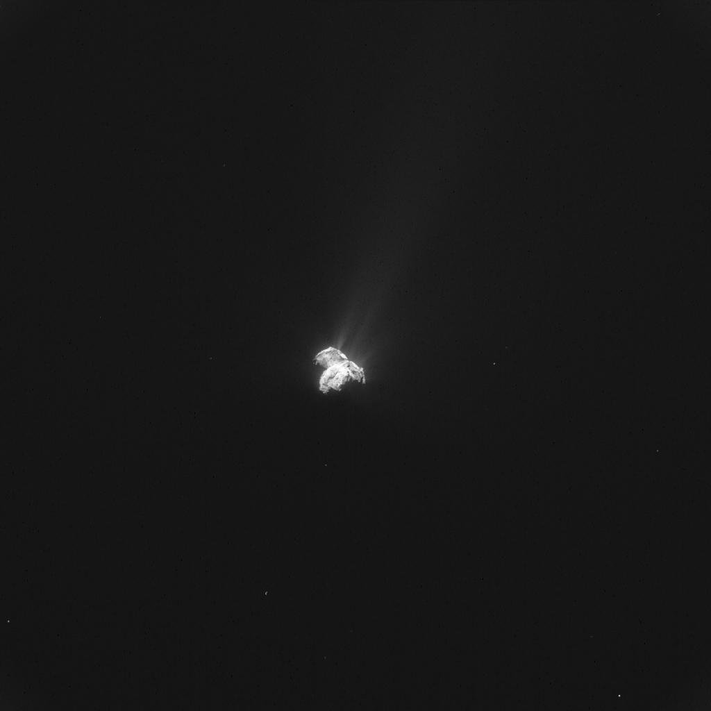 Single frame enhanced NAVCAM image of Comet 67P/C-G taken on 9 October 2015. Credits: ESA/Rosetta/NAVCAM – CC BY-SA IGO 3.0