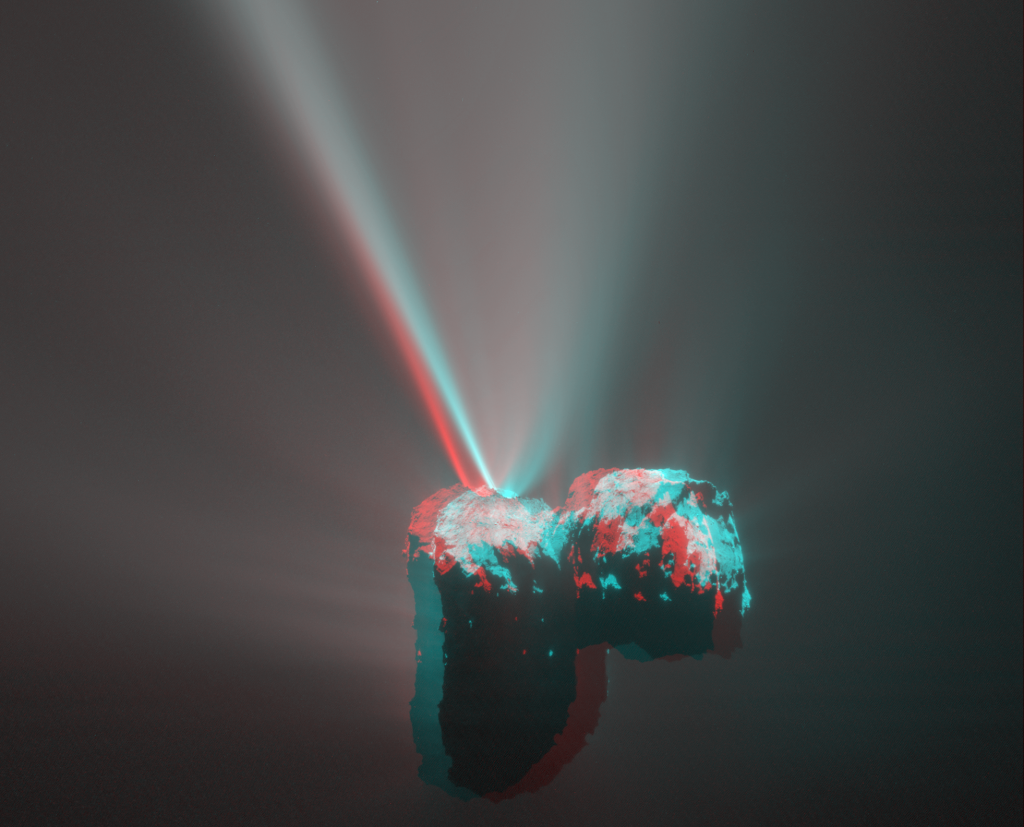 A '3D' anaglyph view of Comet 67P/Churyumov-Gerasimenko based on two images acquired by Rosetta's OSIRIS narrow angle camera on 12 August 2015, capturing a spectacular jet event. The two images are separated by 2 minutes 28 seconds, which corresponds to a stereo angle of 1.2 degrees. The image scale is 3.9 metres per pixel. In this orientation the Babi and Aker regions are visible on the large lobe to the left, while Ma'at and the circular Hatmehit depression are seen on the small lobe to the right. Diffuse dust emission and other jets are visible all around the nucleus. Credits: ESA/Rosetta/MPS for OSIRIS Team MPS/UPD/LAM/IAA/SSO/INTA/UPM/DASP/IDA