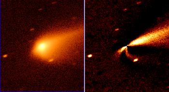 Comet 67P/C-G as seen by the Liverpool Telescope on 8 October. The Sun lies to the left of the comet, and the effects solar radiation pressure can clearly be seen driving the dust away, some of it to form the main tail to the right. Right-hand image: Processing to remove the symmetric part of the coma profile makes it possible to see the asymmetric structures in the denser region of the coma, including a southward excess of dust being bent back by the solar radiation pressure. Credit: Alan Fitzsimmons / Colin Snodgrass / Liverpool Telescope