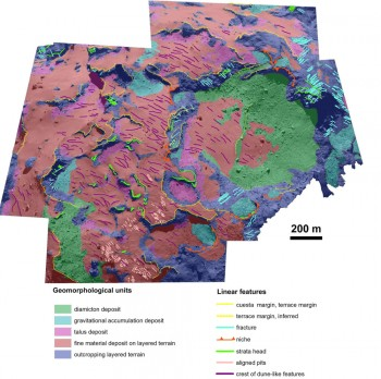 Geomorphological map of the area referred to as Agilkia. The main geological units have been identified on the basis of their shape and structure. Credit: Image courtesy of F. La Forgia et al., 2015