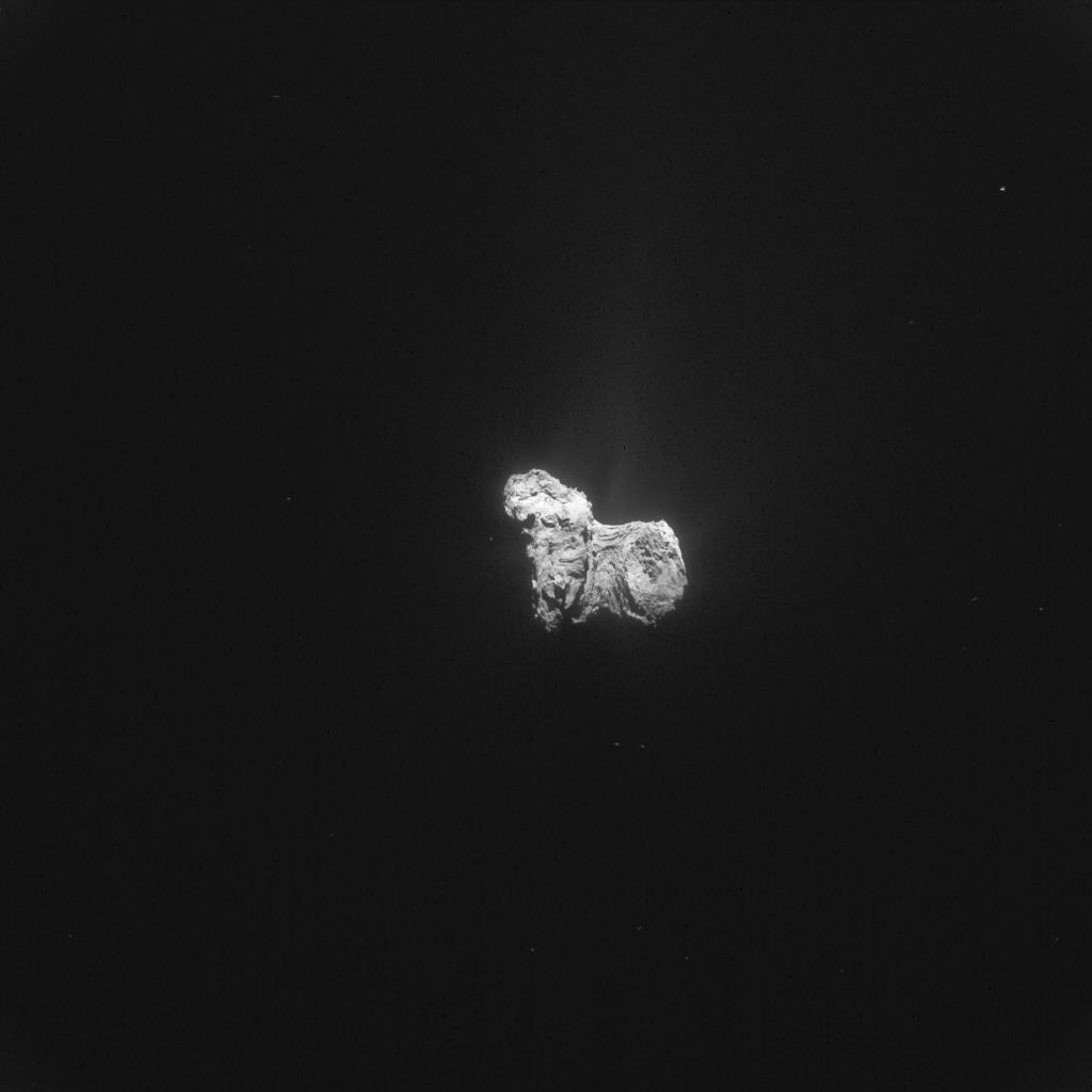 Single frame enhanced NAVCAM image of Comet 67P/C-G taken on 31 October 2015. Credits: ESA/Rosetta/NAVCAM – CC BY-SA IGO 3.0