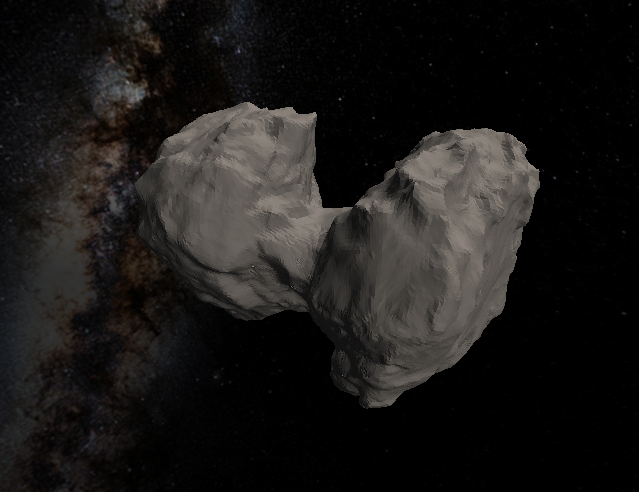 The updated shape model now includes recent images of the comet's southern hemisphere. Click to explore and for download options. Credit: ESA/Rosetta/NAVCAM, CC BY-SA IGO 3.0