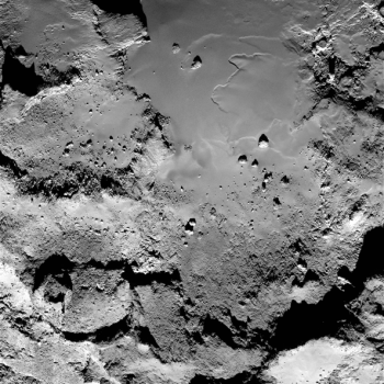 Part of the Imhotep region seen through Rosetta's OSIRIS narrow-angle camera on 5 September 2014, from a distance of 43 km from the comet centre. Credit: ESA/Rosetta/MPS for OSIRIS Team MPS/UPD/LAM/IAA/SSO/INTA/UPM/DASP/IDA