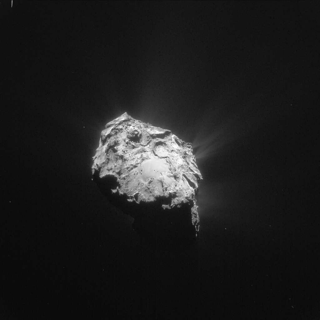 Single frame enhanced NAVCAM image of Comet 67P/C-G taken on 27 November 2015. Credits: ESA/Rosetta/NAVCAM – CC BY-SA IGO 3.0