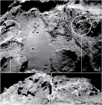 NAVCAM images showing the locations of the icy exposures in Imhotep. Credits: ESA/Rosetta/NavCam – CC BY-SA IGO 3.0