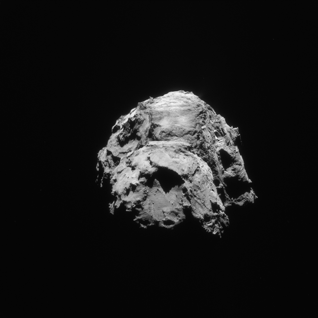 Enhanced Rosetta NAVCAM image taken on 21 January 2016 from a distance of 78.9 km. The scale is 6.7m/pixel and the image measures 6.9 km across. Credits: ESA/Rosetta/NAVCAM – CC BY-SA IGO 3.0