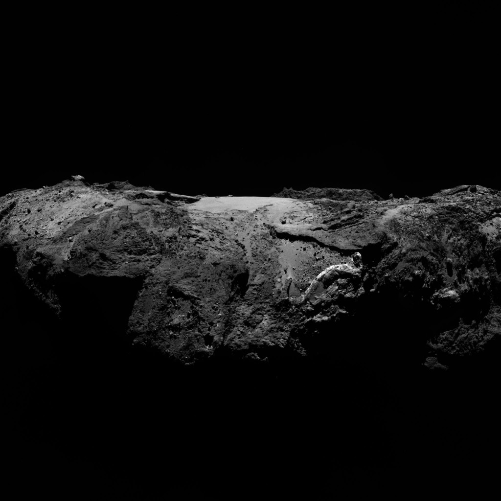 OSIRIS narrow-angle camera image taken on 2 January 2016, when Rosetta was 86.8 km from Comet 67P/Churyumov–Gerasimenko. The scale is 1.57 m/pixel. Credit: ESA/Rosetta/MPS for OSIRIS Team MPS/UPD/LAM/IAA/SSO/INTA/UPM/DASP/IDA