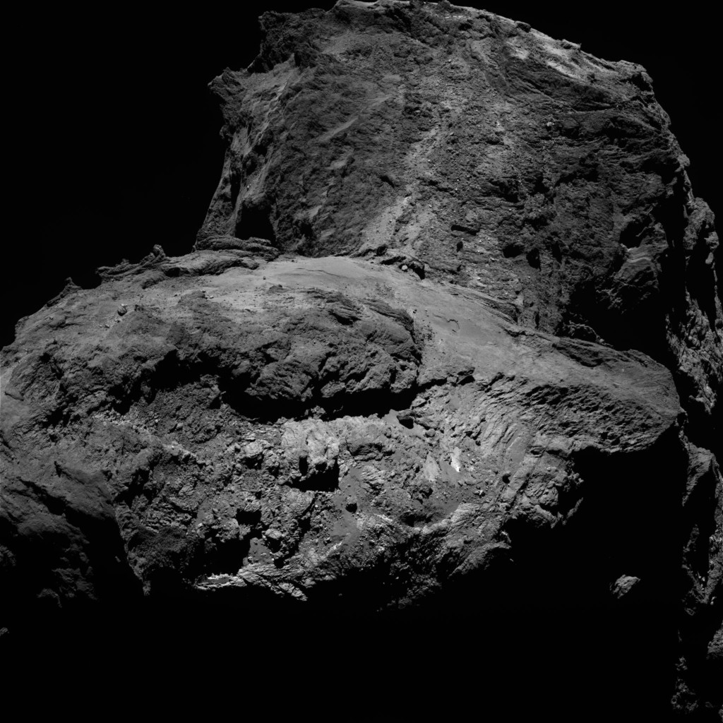 OSIRIS narrow-angle camera image captured on 23 January from a distance of 75.1 km. The image scale is 1.37 m/pixel. Credits: ESA/Rosetta/MPS for OSIRIS Team MPS/UPD/LAM/IAA/SSO/INTA/UPM/DASP/IDA