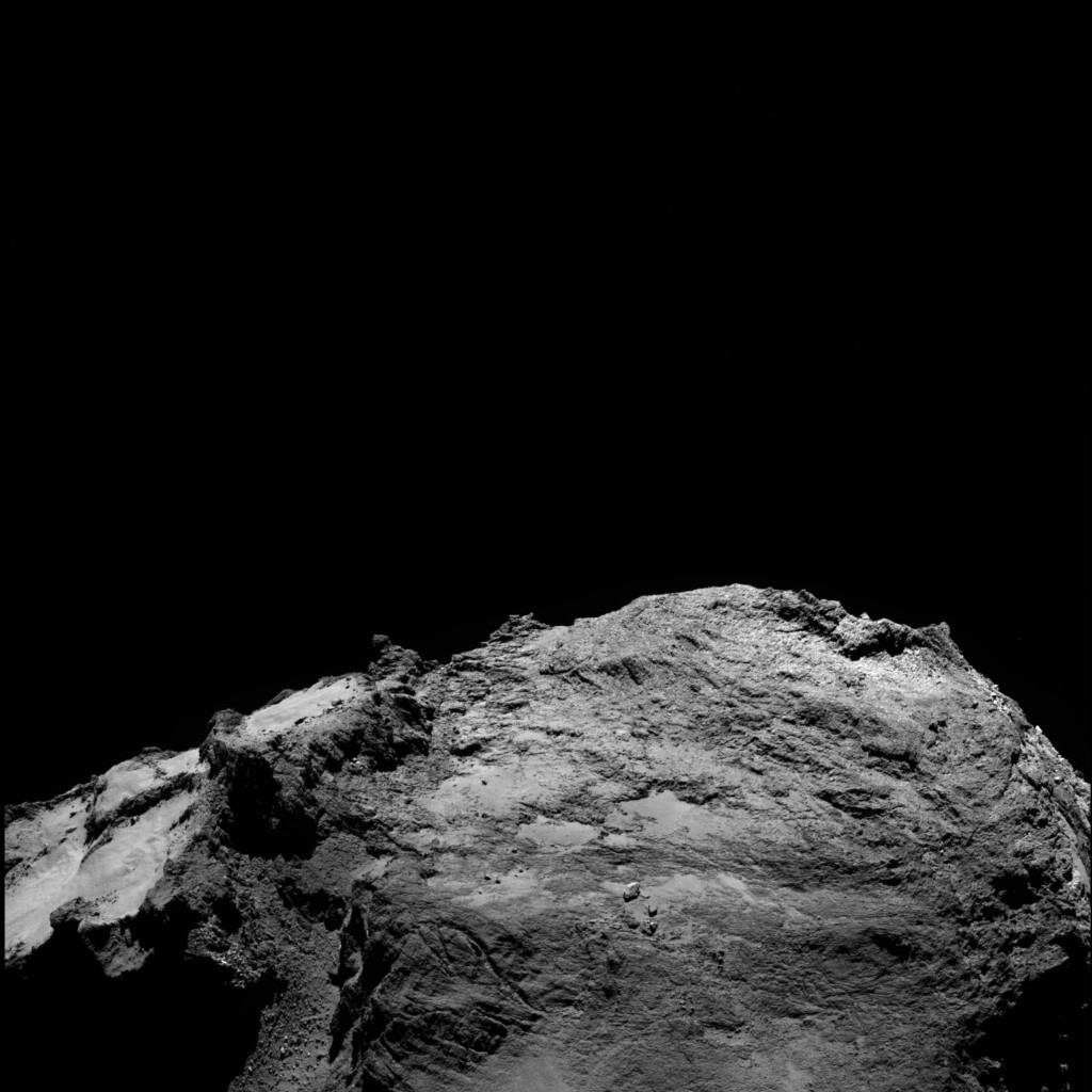 Comet 67P-C-G taken on 13 February by Rosetta's OSIRIS narrow-angle camera from a distance of about 46 km. The image scale is 0.84 m/pixel. Credits: ESA/Rosetta/MPS for OSIRIS Team MPS/UPD/LAM/IAA/SSO/INTA/UPM/DASP/IDA