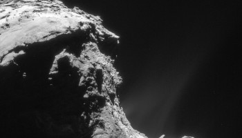 Enhanced NAVCAM image of Comet 67P/C-G taken on 22 February 2016, 32.5 km from the nucleus. The scale is 2.8 m/pixel and the image measures 2.8 km across. Credits: ESA/Rosetta/NAVCAM – CC BY-SA IGO 3.0