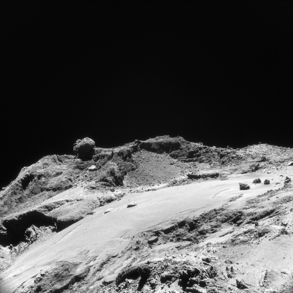 Rosetta NAVCAM image of Comet 67P/Churyumov-Gerasimenko taken from a distance of 12 km. The image scale is 1 m/pixel and the image measures 1.1 km across. Credit: ESA/Rosetta/NAVCAM – CC BY-SA IGO 3.0.