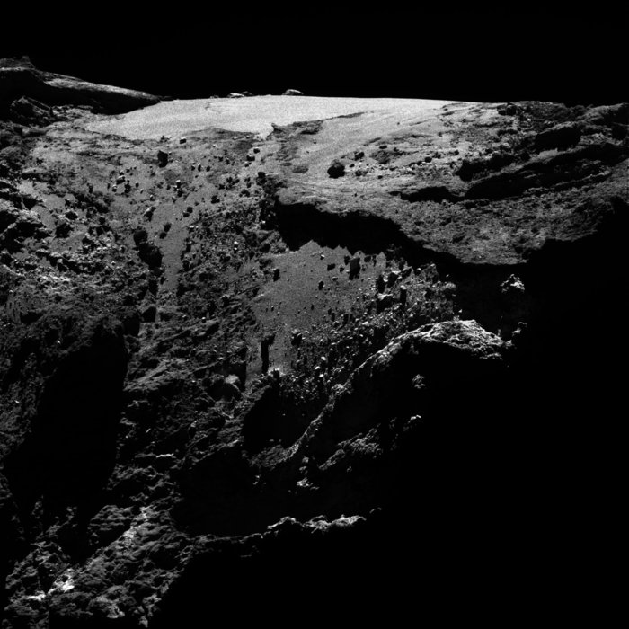 OSIRIS narrow-angle camera image taken on 23 April 2016, when Rosetta was 29.6 km from Comet 67P/Churyumov–Gerasimenko. The scale is 0.53 m/pixel. Credit: ESA/Rosetta/MPS for OSIRIS Team MPS/UPD/LAM/IAA/SSO/INTA/UPM/DASP/IDA.