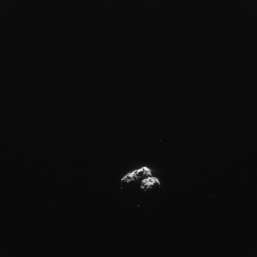 Rosetta NAVCAM image of Comet 67P/C-G taken on 4 April 2016 from a distance of 338 km. The image scale is 28.8 m/pixel and the image measures 29.5 km across. Credits: ESA/Rosetta/NavCam – CC BY-SA IGO 3.0