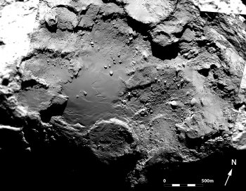Mosaic of six OSIRIS narrow-angle camera images of the geologically diverse Imhotep region on Comet 67P/Churyumov–Gerasimenko. The mosaic comprises images taken on 3 August, 25 August and 5 September 2014 from distances of 272 km, 52 km and 43 km from the comet centre, respectively. As such, the image scale varies from 5 m/pixel to 0.8 m/pixel. Credits: ESA/Rosetta/MPS for OSIRIS Team MPS/UPD/LAM/IAA/SSO/INTA/UPM/DASP/IDA