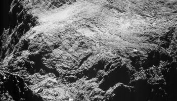 Enhanced NAVCAM image of Comet 67P/C-G taken on 15 May 2016, 9.88 km from the nucleus. The scale is 0.84 m/pixel and the image measures 862 m across. Credits: ESA/Rosetta/NAVCAM – CC BY-SA IGO 3.0