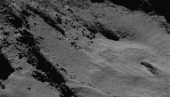 OSIRIS narrow-angle camera image taken in the morning of 28 May 2016 (many hours before the safe mode) when Rosetta was 7.05 km from the centre of Comet 67P/Churyumov–Gerasimenko. The scale is 0.13 m/pixel.
