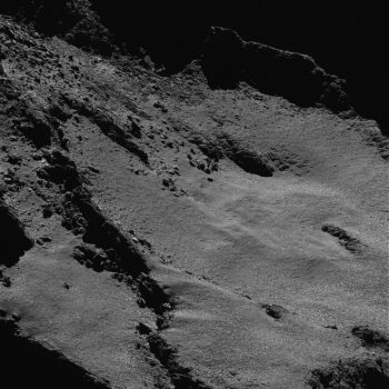 During Rosetta's final descent, the spacecraft will image the comet's surface in high resolution from just a few hundred metres. This OSIRIS narrow-angle camera image was taken on 28 May 2016, when the spacecraft was about 5 km from the surface of Comet 67P/Churyumov–Gerasimenko. The scale is 0.13 m/pixel. ESA/Rosetta/MPS for OSIRIS Team MPS/UPD/LAM/IAA/SSO/INTA/UPM/DASP/IDA