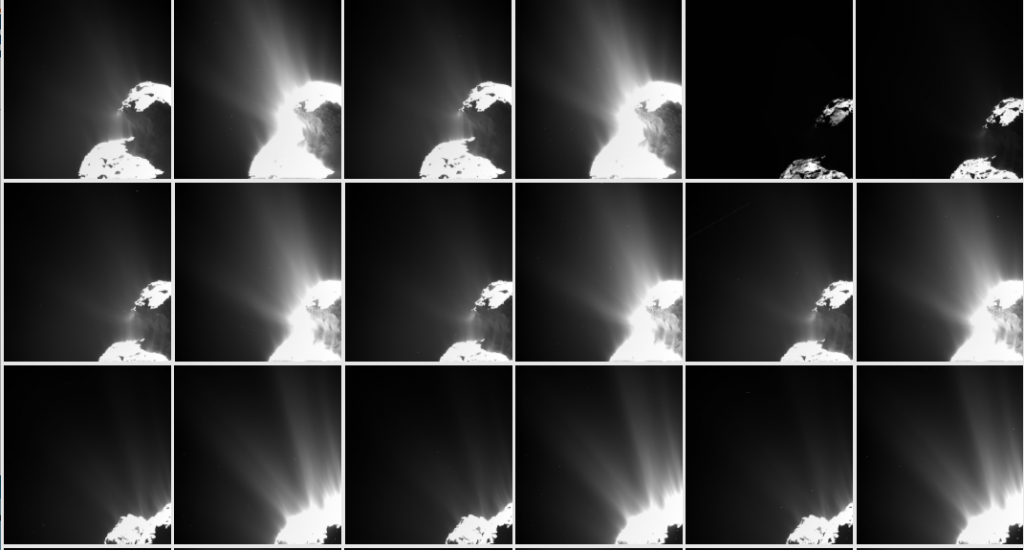 Example of images from the OSIRIS wide-angle camera albums in the latest data release. Credits: ESA/Rosetta/MPS for OSIRIS Team MPS/UPD/LAM/IAA/SSO/INTA/UPM/DASP/IDA