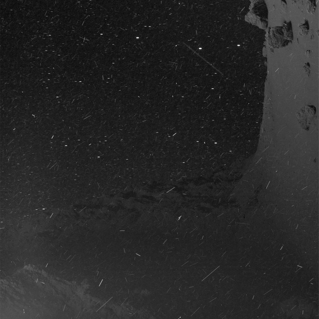 OSIRIS narrow-angle camera image taken on 1 June 2016, when Rosetta was 20 km from the centre of Comet 67P/C-G. The scale is 0.36 m/pixel. Credits: ESA/Rosetta/MPS for OSIRIS Team MPS/UPD/LAM/IAA/SSO/INTA/UPM/DASP/IDA