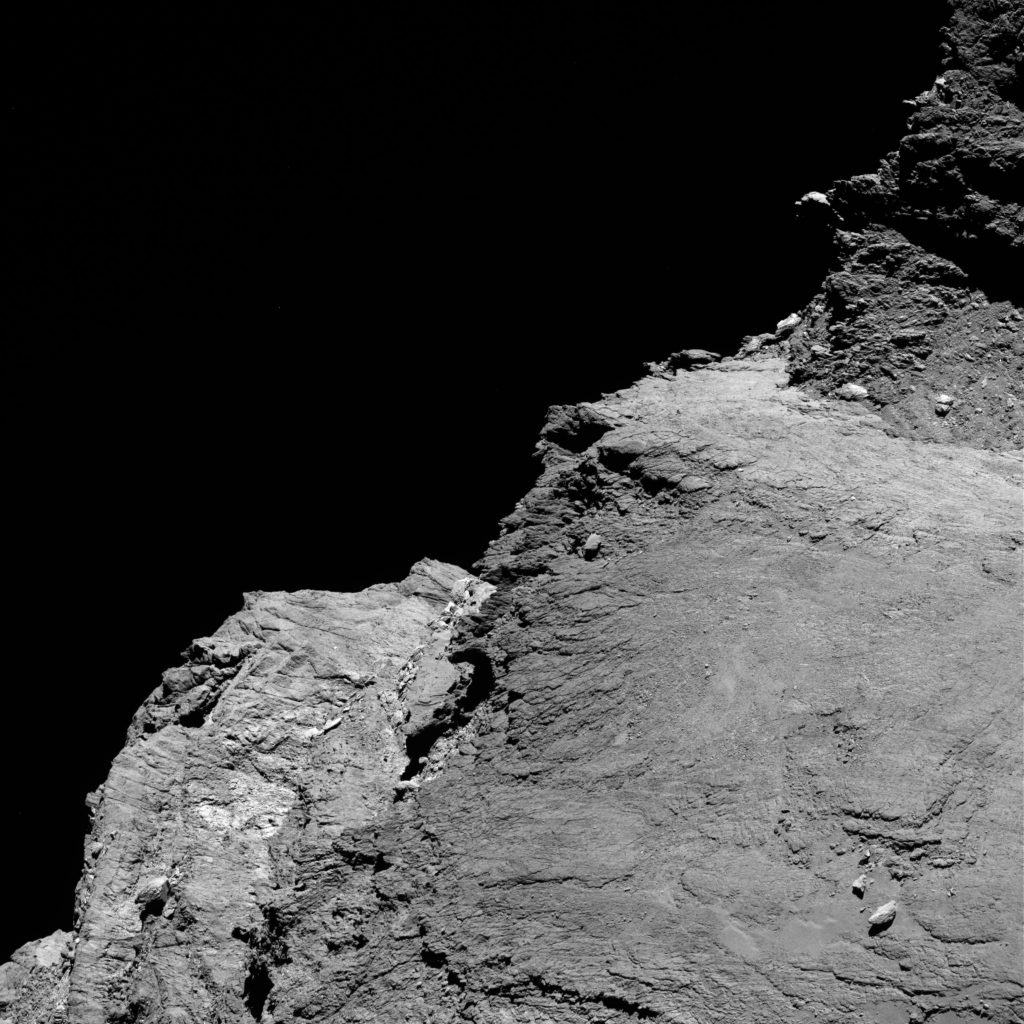 OSIRIS narrow-angle camera image taken on 7 June 2016, when Rosetta was 28.8 km from the centre of Comet 67P/Churyumov–Gerasimenko. The scale is 0.51 m/pixel. Credits: ESA/Rosetta/MPS for OSIRIS Team MPS/UPD/LAM/IAA/SSO/INTA/UPM/DASP/IDA