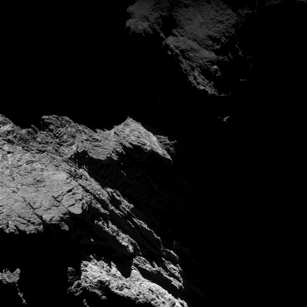 OSIRIS wide-angle camera image taken on 1 June 2016, when Rosetta was 8.4 km from the centre of Comet 67P/C-G. The scale is 0.79 m/pixel. Credits: ESA/Rosetta/MPS for OSIRIS Team MPS/UPD/LAM/IAA/SSO/INTA/UPM/DASP/IDA