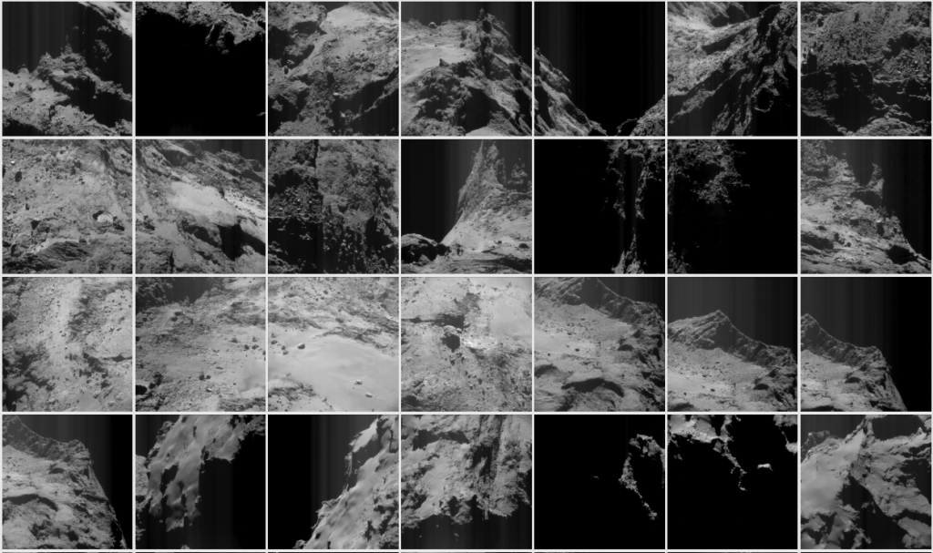 Examples of NAVCAM images from the May 2016 archive. Credits: ESA/Rosetta/NavCam – CC BY-SA IGO 3.0