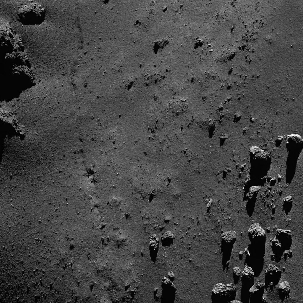 OSIRIS narrow-angle camera image taken on 20 July 2016, when Rosetta was 9.1 km from the centre of Comet 67P/Churyumov–Gerasimenko. The scale is 0.16 m/pixel at the comet and the image measures about 330 m. Credits: ESA/Rosetta/MPS for OSIRIS Team MPS/UPD/LAM/IAA/SSO/INTA/UPM/DASP/IDA