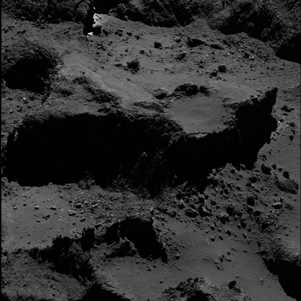 OSIRIS wide-angle camera image taken on 23 July 2016, when Rosetta was 9.6 km from the centre of Comet 67P/Churyumov–Gerasimenko. The scale is 0.16 m/pixel at the comet and the image measures about 330 m. Credits: ESA/Rosetta/MPS for OSIRIS Team MPS/UPD/LAM/IAA/SSO/INTA/UPM/DASP/IDA