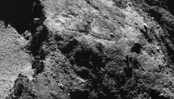 Comet 67P/Churyumov-Geraimsenko on 6 August 2016, taken by Rosetta's NAVCAM from a distance of 8.5 km. captured on 6 August 2016 from 8.5 km. The scale is 0.7 m/pixel and the image measures about 700 m across. Credits: ESA/Rosetta/NavCam – CC BY-SA IGO 3.0